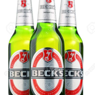 POZNAN, POLAND - APRIL 23, 2016: Beck's is the world's best selling German beer produced by Beck's Brewery in Bremen, Germany and sold in nearly 90 countries.